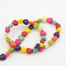Howlite Heart Beads Mixed Colours 8mm One Strand (Approx 50+ Beads) P00126XB