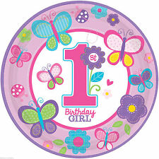 """18 Sweet Pink Butterfly Girl's 1st Birthday Party Disposable 10.5"""" Paper Plates"""