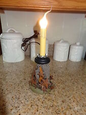Electric Candle on Textile Spool with Rusty Stars Primitive #1