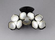 "Silver Black hair clip flower floral plastic barrette jaw claw clamp 3.25"" long"