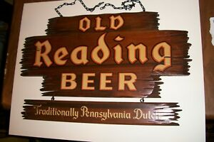 """Vintage, """" OLD READING BEER"""", Wood, Two Part Sign, W/ Chains, 1950's"""