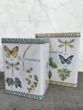 Storage Tins Vintage Style Set of 2 Butterfly & Dragonfly