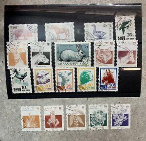 Lot timbres animaux et plantes