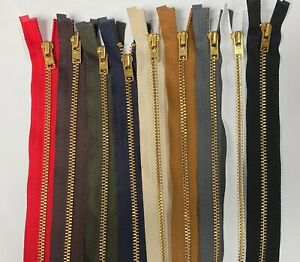 YKK NO.3, 91cm Open Ended Zip, GOLD Metal Teeth, Choose From 9 Tape Colours!
