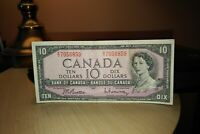 1954 $10 Dollar Bank of Canada Banknote EV7056859 F-VF