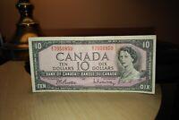 1954 $10 Dollar Bank of Canada Banknote EV7056859 F-VF