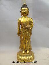 22 Chinese Tibet Bronze gilt carving Buddhist clothing Sakyamuni Buddha Statue