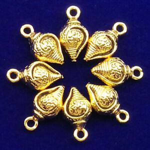 18 pcs Carved Tibetan Gold Conch Pendant Bead 14x8x6mm XJ2037
