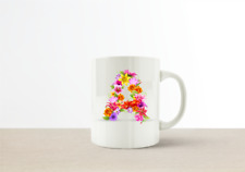 Personalised Botanical Floral Name Initial Letter Coffee Mug Gift 11oz Ceramic