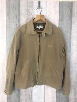 Ted Baker Brown Beige Zip Through Cotton Blend Harrington Jacket Size 4 UK L
