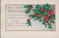 Vintage Antique New Year Year's Postcard New Year Greetings Holly 1924