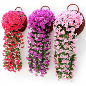Hanging Wall Artificial Fake Silk Violet Orchid Flowers Rattan Plant Basket Vine