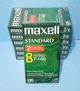 7 Maxell VHS T-160 8 Hour Cassette Tapes Standard Grade Video Sealed New