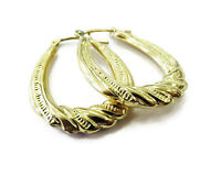 14k Yellow Gold Twisted Look Textured Oval Hoop Ladies Earrings ~ 1.4g