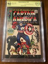 CAPTAIN AMERICA #100 4/68 CBCS 9.0 SS STAN LEE!! SUPER ICONIC SIGNED KEY