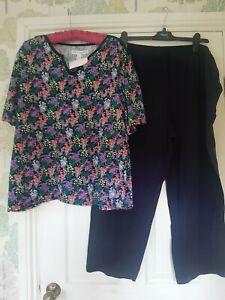 Carole Hochman 100% Cotton FloralMeadow PJ Set Regular Navy New XL Qvc Rrp £34