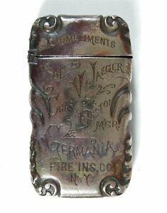 1890s GERMANIA LIFE INSURANCE COMPANY ADVERTISING POCKET MATCH SAFE VESTA