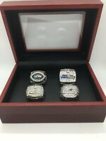 4 Pcs Seattle Seahawks Super Bowl Championship Ring Set with Wooden Display Box