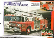Fire engine USA Pumpers Aerials & Snorkels Seagrave FICHE Pompier FIREFIGHTER