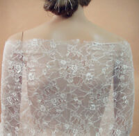 Chantilly Floral Bridal Dancing Dress Lace Fabric Off White Costume Tulle 0.5 Y