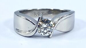 .50 ct natural DIAMOND mens solitaire pinky ring SOLID PLATINUM (VIDEO)