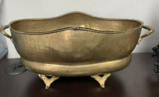 """Vintage Hammered Ornate Brass Oval Footed Planter Pot W/ Fish Tail Handles 12"""""""