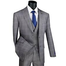 VINCI Men's Gray Glen Plaid 3 Piece 2 Button Modern Fit Suit w/ Peak Lapel NEW