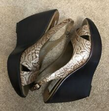 NWT! Carlos Santana Elevate Brown Leather Open Toe Sling Back Wedge Sandals 8.5