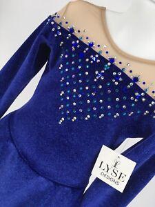 Girls Medium Royal Blue Sparkle Velvet Figure Ice Skating Competition Dress