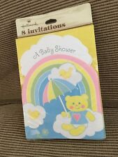 New Vintage 1980's ? Hallmark Rainbow Umbrella Bear Baby Shower Invitations
