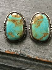 Large Vintage Navajo Natural Turquoise & Sterling Silver Earrings Signed