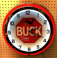 "18"" The BUCK Stops Here Hunting Sign Double Neon Clock"