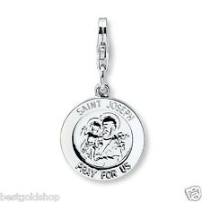 Saint Joseph Medal Charm Pendant Lobster Clasp Solid 925 Sterling Silver 15mm