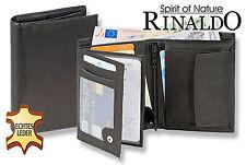 Rinaldo® Leder Geldbörse in Schwarz mit Voll-Lederboden im Hartgeldfach