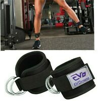 EVO Cable Pulley Attachment D Ring Ankle Straps Fitness Gym Cuffs Weightlifting