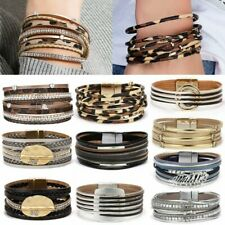 Fashion Multilayer Leather Bracelet Cuff Bangle Magnetic Clasp Wristband Women