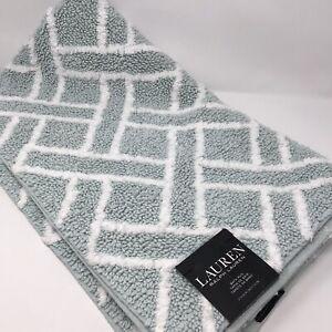 RALPH LAUREN Bath Rug Anti Slip Geometric Mint/White 27x44 inches LARGE RUG