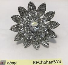 Silver Large Bling Ring, fashion jewellery Statement Bollywood style JS4-052S/W