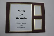 Picture Framing Mat 11x14 for 8x10 photo & 2 sports cards Burgundy and gold