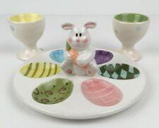 Easter Bunny Rabbit Deviled 6 Egg Ceramic Plate & 2 Matching Egg Cups