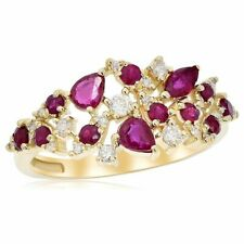 14K Yellow Gold Pave Red Ruby Pear Marquise Whimsical Right Hand Cocktail Ring