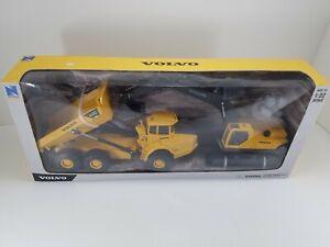 Newray 1:32 Scale Volvo Plastic Toy Set EC460B Excavator A40D Dump Truck - NEW!