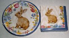 EASTER Paper Plates & Napkins BUNNY GARDEN  Dessert Plates and  Napkins