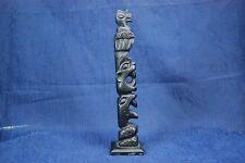 "Haida Hand made Totem Pole carving Canadian West Coast Indian Art 8 1/4""H signed"