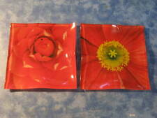 "LOT OF 2 MOLDED GLASS RED FLORAL PLATES 5.5"" Square MINT"