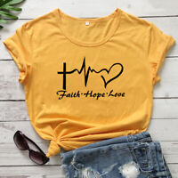 Faith Hope Love Heartbeat Christian T-shirt Fashion Women Graphic Tee Shirt Top