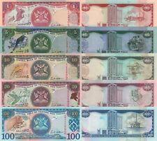 Trinidad & Tobago 5 Note Set: 1 to 100 Dollars (2002) - p41,p42,p43,p44,p45 UNC