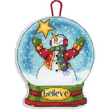 Cross Stitch Kit ~ Dimensions Believe Snow Globe Christmas Ornament #70-08904