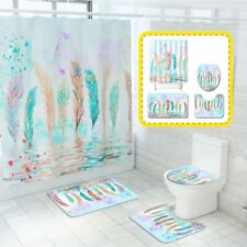 4/3/1 pcs Colorful Feathers Printed Bathroom Shower Curtain Bath Mat Toilet Rugs