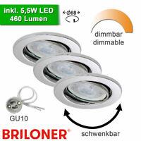 LED Spots dimmbar Einbau Strahler Deckenleuchten Einbauleuchten 68mm Chrom
